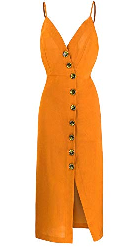 TOP-MAX Women's Dresses-Summer Spaghetti Strap Sleeveless Split Cocktail Party Casual Button Down Midi Dress Orange