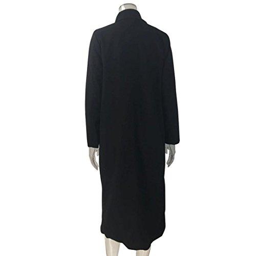Larga Solapa de Chaqueta para para Mujer Invierno KaloryWee Mujer Chaqueta Negro con 71qgaxFZw