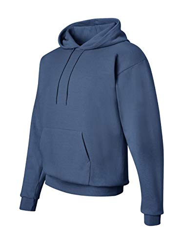 Hanes Men's Pullover EcoSmart Fleece Hooded Sweatshirt, Denim Blue, Medium