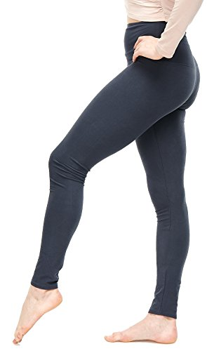 (LMB Women's Extra Soft Leggings with High Yoga Waist Pants 40+ Colors Plus Sizes (One Size, Charcoal - Extra Wide Yoga Waist))