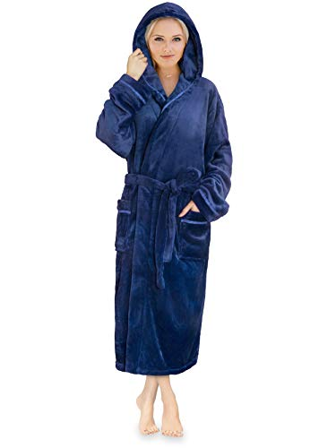 Premium Women Fleece Robe with Hood and Satin Trim | Luxurious Soft Plush Bathrobe