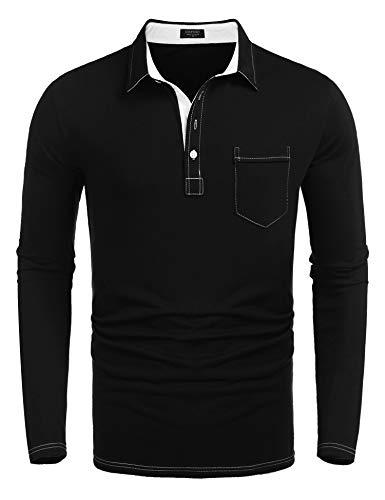 COOFANDY Men's Long Sleeve Polo Shirt Slim Fit Casual Business Cotton T Shirt Black