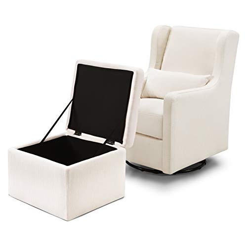 31YTW1F9dXL - Carter's By Davinci Adrian Swivel Glider With Storage Ottoman In Cream Linen, Water Repellent And Stain Resistant Fabric, Greenguard Gold Certified