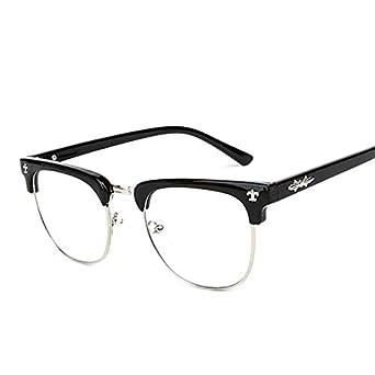 130d6d181b Korean Style Half Frame Radiation Protection Flat Glasses Retro Lovers  Eyeglasses for Unisex