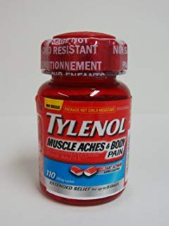 TYLENOL MUSCLE ACHES & BODY PAIN Relief up to 8 hours of Muscle Aches, Body Pain and Menstrual Cramps 650 mg 110 Caplets