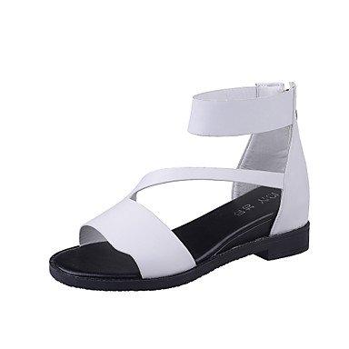 LvYuan Tacón Plano-Confort Mary Jane Gladiador Suelas con luz-Sandalias-Exterior Vestido Informal-Semicuero-Negro Blanco Gris White
