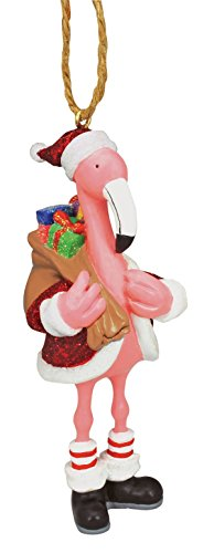 Pink Flamingo in Santa Suit Fun Christmas Holiday Ornament