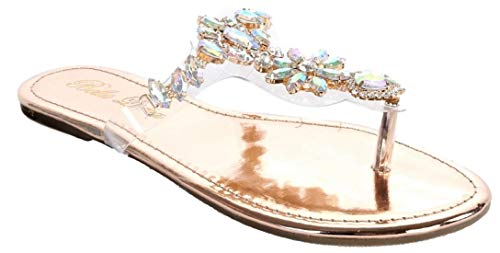 Bella Luna Women Gladiator Lucite Clear Transparent Rhinestone Bling Flats Sandal Flong-1 (11, Rose Gold-Slides)