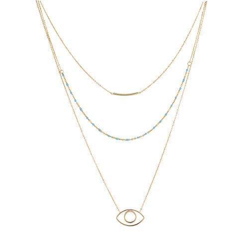 (LOYATA Bohe Multilayer Necklace Evil Eye Pendant Necklace for Women 14K Gold Plated Delicate Charm Shell Turquoise Beads Bar Choker Summer Beach Bohemian Jewelry (Evil Eye))