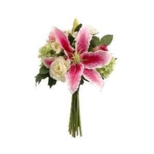 "12"" Casablanca Lily/Rose/Snowball Bouquet Rubrum Cream (Pack of 4) 71"
