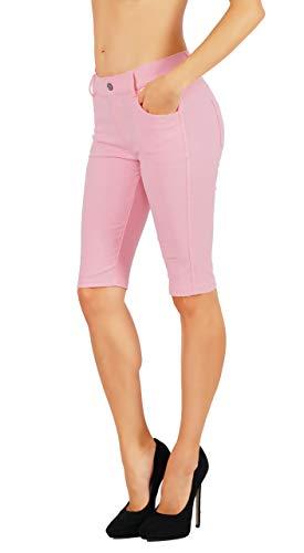 - Fit Division Women's Jean Look Cotton Blend Jeggings Tights Slimming Full Lenght Capri and Classic Bermuda Shorts Leggings Pants S-3XL (3X US Size 20-22, FDJN825-LPK)