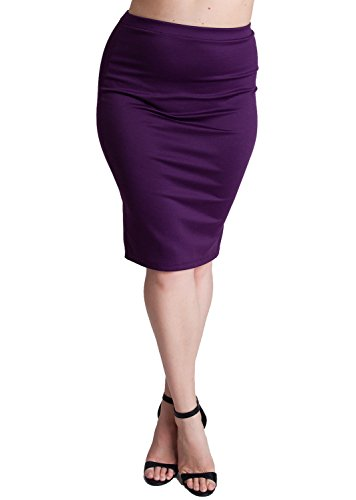 Woman Plum Plus Size Banded Waistline Pencil Skirt