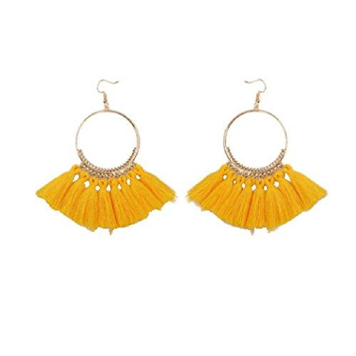 Bohemian Earrings, Paymenow Clearance Women Girls Hook Dangle Fashion Circle Boho Long Tassel Wedding Holiday Beach Jewelry Accessory (B) Bangles Trendy Jewelry