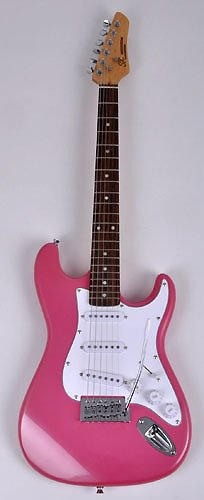 SX RST 3/4 BGMY Short Scale Pink Guitar Package with Amp, Carry Bag and Instructional DVD