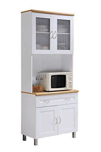 - Hodedah Tall Standing Kitchen Cabinet with Top and Bottom Enclosed Cabinet Space, 1-Drawer, Large Open Space for Microwave in White
