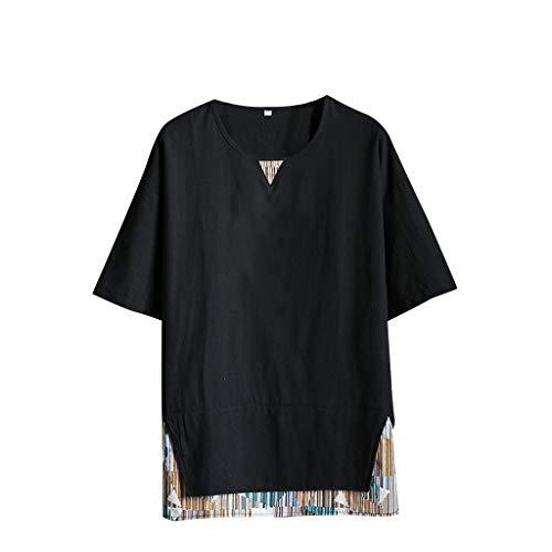 T-Shirts Tops Men's Summer Casual Cotton Linen Printing Patchwork Short Sleeve Black -