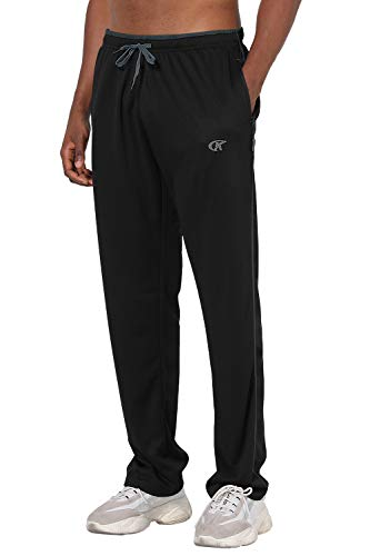 NEIKU Mens Pants Athletic Open Bottom Running Pants Mesh Mens Sweatpants with Pockets