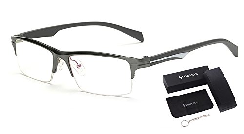 SOOLALA Mens Lightweight Aluminum Magnesium Optical Quality Semi-rimless Reading Glasses Gun 2.5x