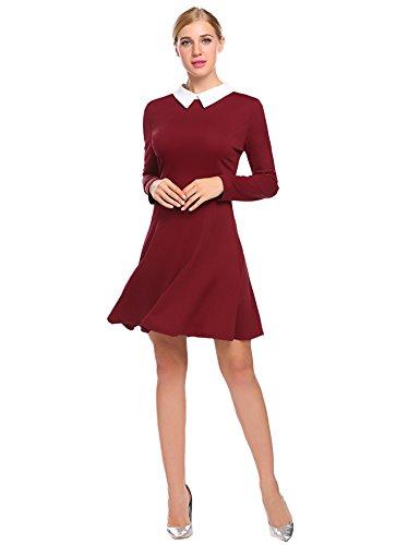 SimpleFun Women Halloween Wednesday Addams Dress (L, Wine Red)