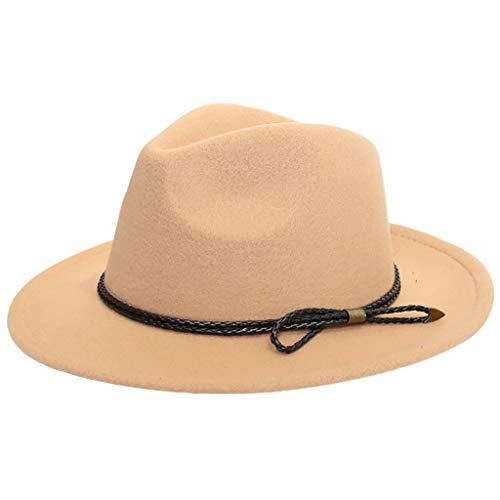 FEDULK Women's Fedora hat Classic Vintage Outback Hat Panama Hat Wide Brim Floppy Cap with Belt(Khaki, One Size)