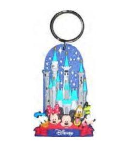 Disney Mickey Mouse Gang Castle Soft Lasercut Keychain Keyring
