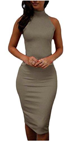 Jaycargogo Delle Partito Vestito Donne Aderente Halter Midi Sexy 3 Clubwear Maniche 6wq617r
