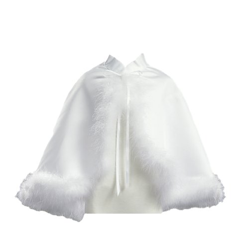 Girl's White Satin Communion Cape with Marabou (Feather) Trims - Large / 12-14