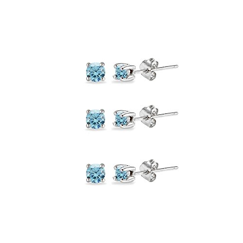 3-Pair Set Sterling Silver 3mm Round Colored Stud Earrings Made with Swarovski Crystals