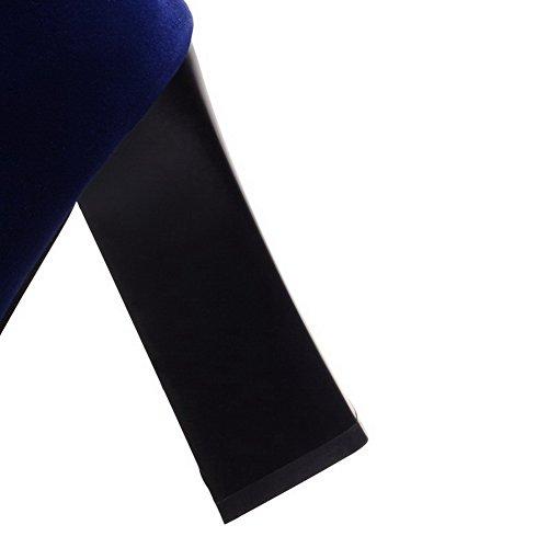 AllhqFashion Mujeres Tachonado Caña Baja Tacón ancho Botas con Diamante de Imitación Azul
