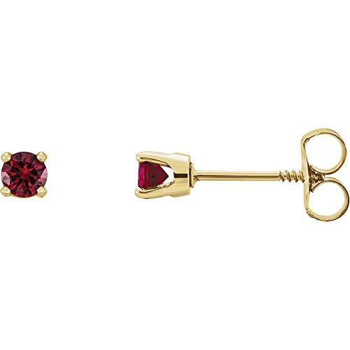 Genuine Mozambique Garnet Earrings - 14k Yellow Gold Genuine Mozambique Garnet Earrings