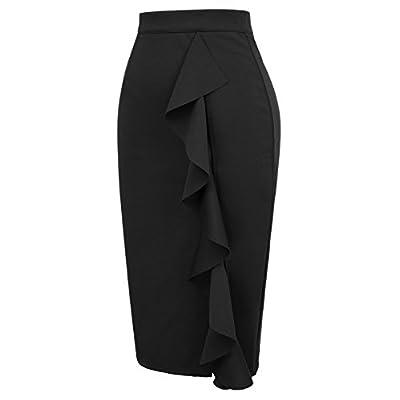 GRACE KARIN Women's Ruffle Bodycon Knee Length Midi Pencil Skirt at Women's Clothing store