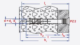 50 St/ück PROFI Nageld/übel 10 x 160 mm Nylon Schlagd/übel Einschlagd/übel D/übel Senkkopf mit Schraubnagel