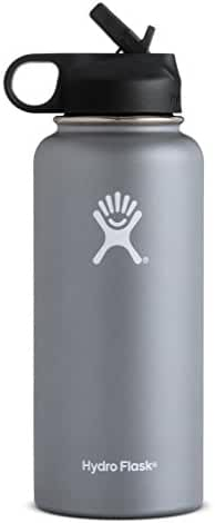Hydro Flask Vacuum Insulated Stainless Steel Water Bottle, Wide Mouth w/Straw Lid