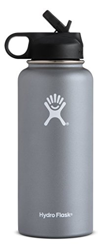 Hydro Flask Vacuum Insulated Stainless Steel Water Bottle Wide Mouth with Straw Lid (Graphite, 32-Ounce) (Life Stainless Steel)