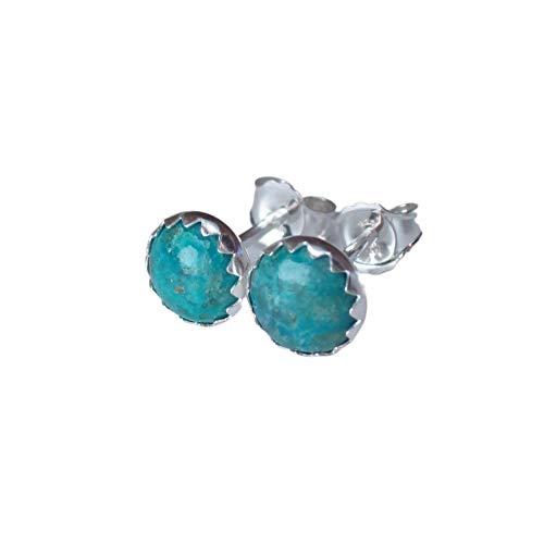 Handmade Chrysocolla Earrings in Sterling Silver