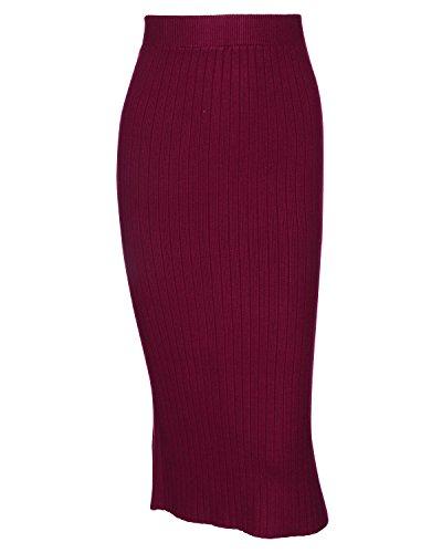 Kenancy Jupe Femme Mi Longue Automne Hiver En Tricot Jupe Taille Haute Bureau Travail Dcontract Jupe Crayon Rouge Vin