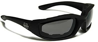 Choppers Mens Biker Padded Motorcycle Goggles Glasses - Several Lens Colors Available! (Black - Smoke Lens)
