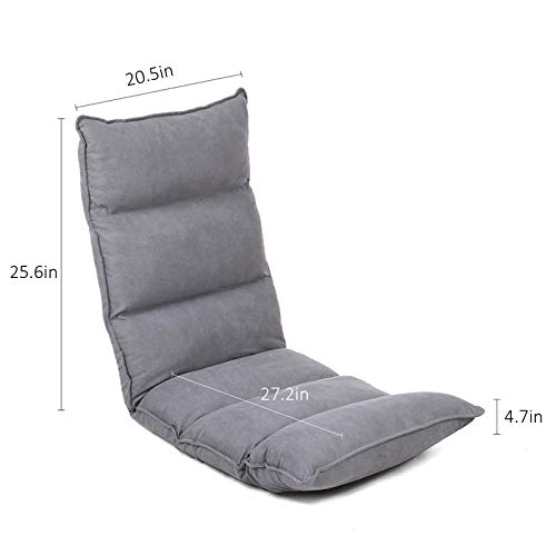 FLOGUOR Floor Chair 14-Position Head Back Foot Adjustable Elegant Lounger Chair Comfortable Support Lounger Chair for Reading, TV Watching (Grey) 014LG