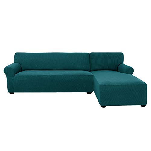 subrtex 2 Pieces L-Shaped Couch Covers Stretch Fabric Sectional Sofa Slipcovers(Right Chaise (2 Seats), Teal) (Couch Sectional Teal)