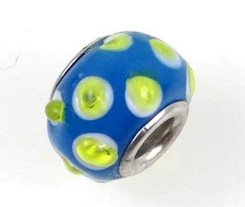 (1 Bead) Lampwork Handmade Bead Big Hole Fit Bracelet Charm Blue Lime Dot ()