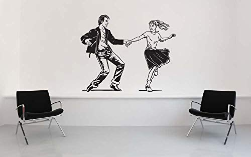 - 1950's Couple Dancing Grease Decorations Poodle Skirt Decal Saddle Shoes Sticker Jitterbug Vinyl 50s Home Restaurant Wall Decor Made in USA