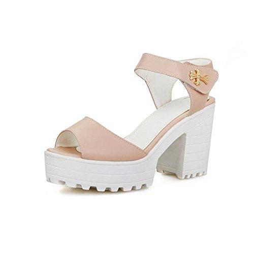 AmoonyFashion Womens Hook-and-loop High-Heels PU Solid Peep Toe Heeled-Sandals Pink