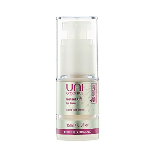 Certified Organic Eye Cream – Instant Lift & Firming for Eye Area, Wrinkles, Fine Line Reduction. Reduce Puffiness & Dark Circles with Snake Vine & Aloe Vera Extract by Uni Organics