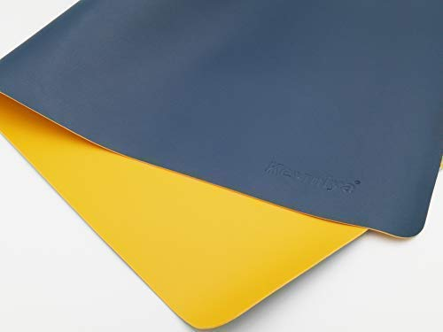KEVMIYA Pad for Desk with Artificial Leather Material, 31.5X15.74X0.08in, Perfect mat for Home Desk and Office Table, Waterproof and Rectangular with Fillet, Double Sided (Blue+Yellow)