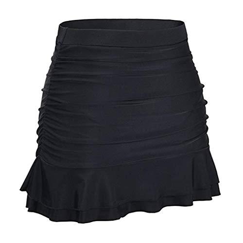 (Barthylomo Women's Skirted Bikini Bottom, Solid Color High Waisted Swim Skirt Ruffle Swim Cheeky Booty Ladies Swimsuit)
