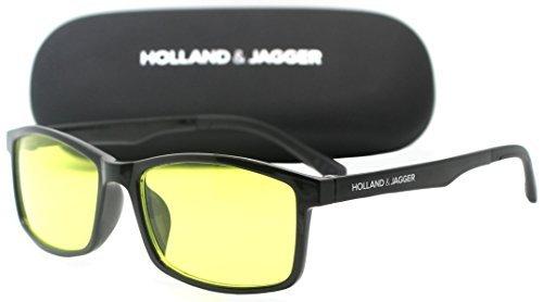 Holland & Jagger Blue Light Blocking Computer Glasses—FDA Approved—Sleep Better, Reduce Eyestrain & Fatigue When Gaming, Tablet/Phone Reading, TV—Anti Glare Eyewear Men and Women (PC Black).