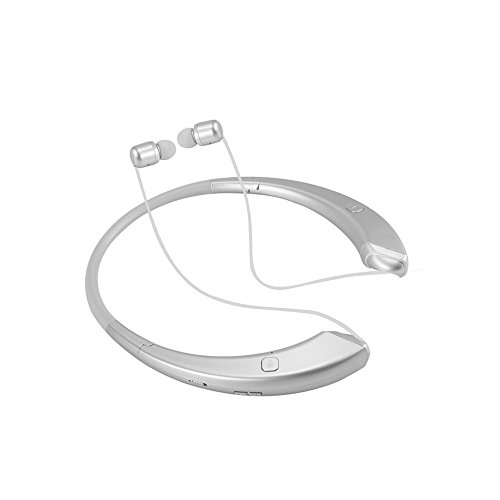 Newest Foldable Retractable Bluetooth Headset Gift Design Foldable NeckBand Style Sport Bluetooth 4.1 Wireless Headphone Mic Speaker VIP Gift Box HD Stereo Earphone (Silver) -  Shenzhen Midu Technology Co.,Limited