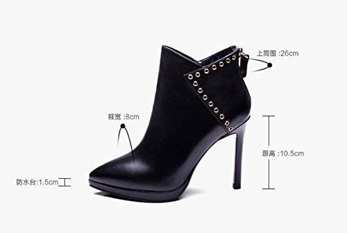 Donna vera pelle tacco Martin stivali punta a spillo moda paillettes ribattino decorazione Ankle Boot , 37