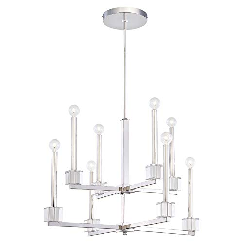 Metropolitan N6871-613 Chadbourne Chandelier, 8-Light 480 Total Watts, Polished Nickel