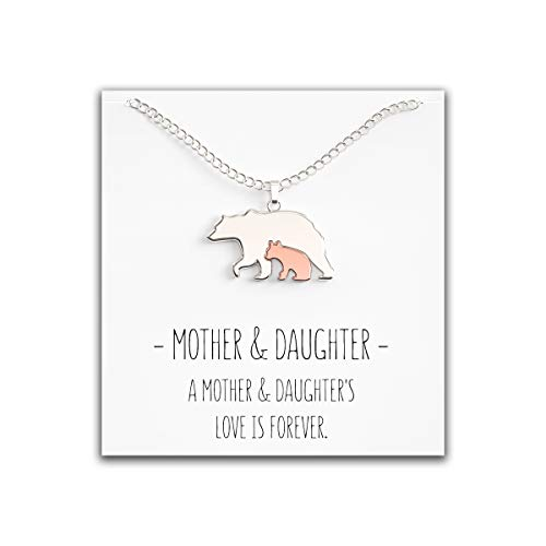(Happy Kisses Mother Daughter Bear Necklace - Mama Bear Pendant - Cute Mom Silver Rose Gold Gift for Woman & Girls)